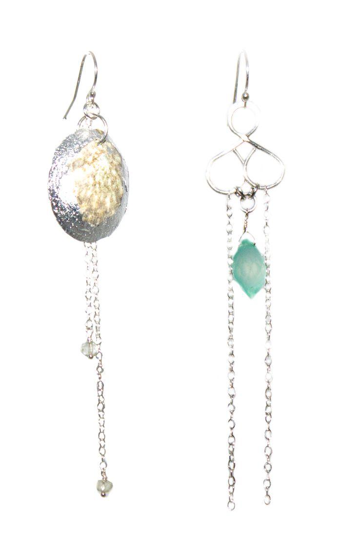LKspe197, boutique Tess, argent coquillage plaqué argent, calcédoine bleue, améthystes vertes, 90€
