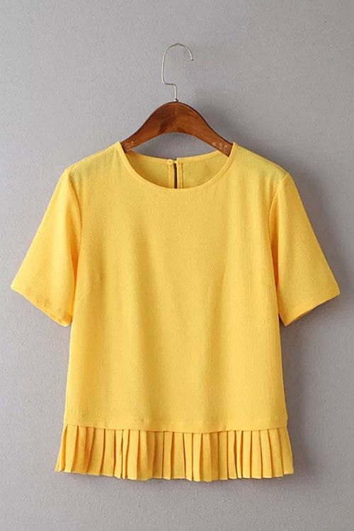 Yellow Short Sleeve Top with Pleated Hem - US$15.95 -YOINS