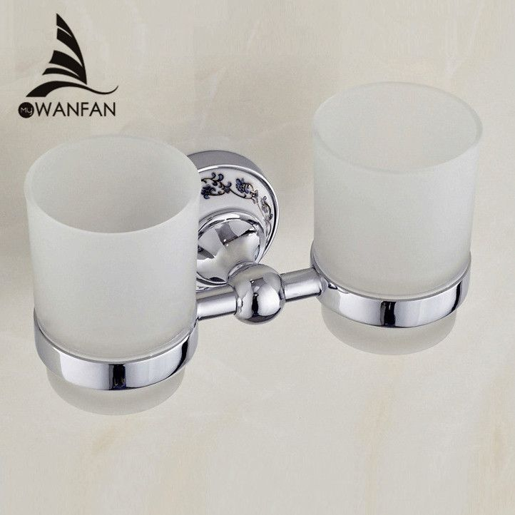 Luxury European style Chrome copper toothbrush tumbler&cup holder with 2 glass cups wall mounted bath product banheiro ST-6703 - ICON2 Luxury Designer Fixures  Luxury #European #style #Chrome #copper #toothbrush #tumbler&cup #holder #with #2 #glass #cups #wall #mounted #bath #product #banheiro #ST-6703