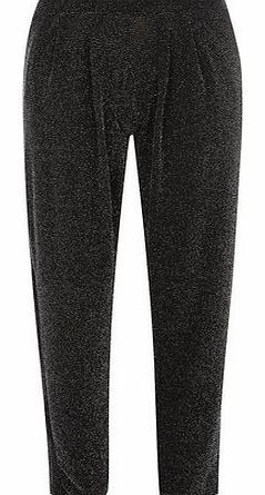 Dorothy Perkins Womens Silver sparkle hareem trousers- Black Black and silver sparkle drape pull on trousers with a tapered leg. 100% Polyester. Machine washable. http://www.comparestoreprices.co.uk//dorothy-perkins-womens-silver-sparkle-hareem-trousers-black.asp