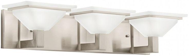 Kichler 3-Light Brushed Nickel Square Retro Glass Shaded Bathroom Vanity Light #KichlerLighting #Transitional