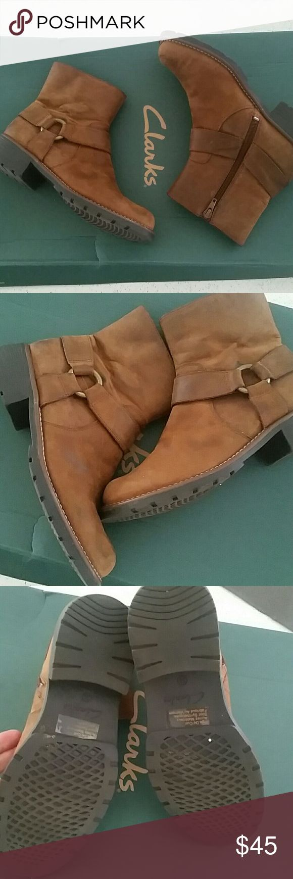 Clarks booties In excellent condition.  Size 6 leather upper. Black stains easy to remove with proper solution. Clarks Shoes Ankle Boots & Booties