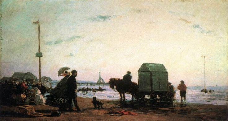 La spiaggia a Trouville, 1863, olio su tela, Eugène Boudin. Metropolitan Museum of Art, New York, USA.