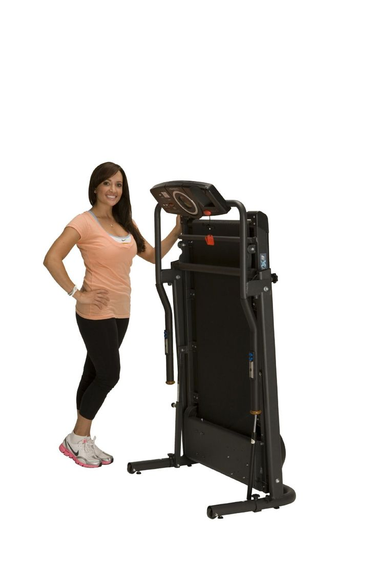 Exerpeutic TF1000 Walk to Fitness Electric Treadmill is easy to store upright