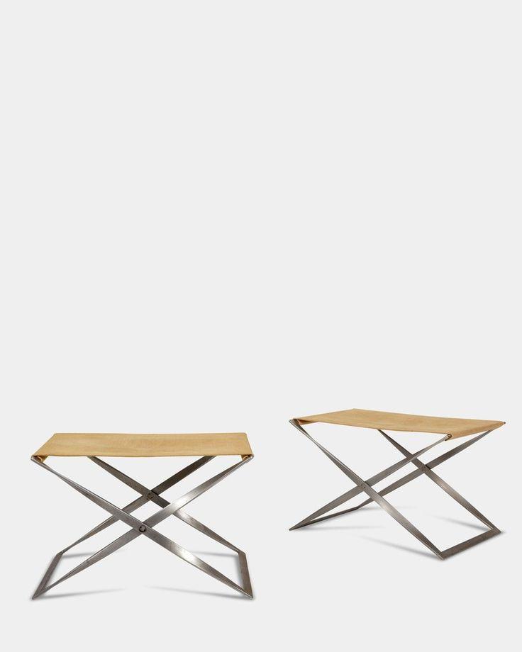 Pair of PK-91 Folding stools by Poul Kjærholm