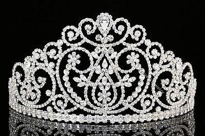 Bridal Beauty Pageant Prom Queen Wedding Rhinestone Crystal Crown Tiara 8966