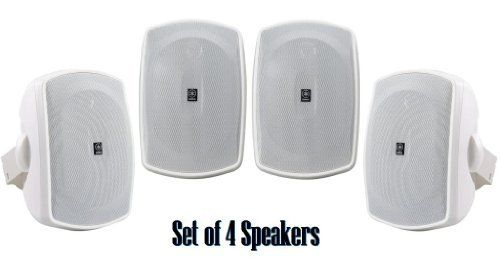 Yamaha All Weather Outdoor / Indoor Wall Mountable Natural Sound 130 watt 2 way Acoustic Suspension Speakers - Set of 4 - White - with 100ft 16 AWG Speaker Wire - Compatible with All Audio / Video Home Theater Sound Systems, Components, CD Players, or Receivers by Yamaha. $199.95. Outdoor Speaker System Features High Power Handling and Durable All-Weather DesignRecommended for Indoor / Outdoor Front / Surround SpeakersNew Natural Sound All-Weather Speaker System2-way acoust...