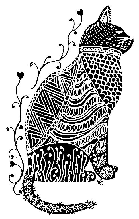 Pen And Ink Cat Illustration