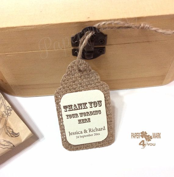 25 Burlap Thank You Hanging Tag _ Burlap Gift by PaperMark4You