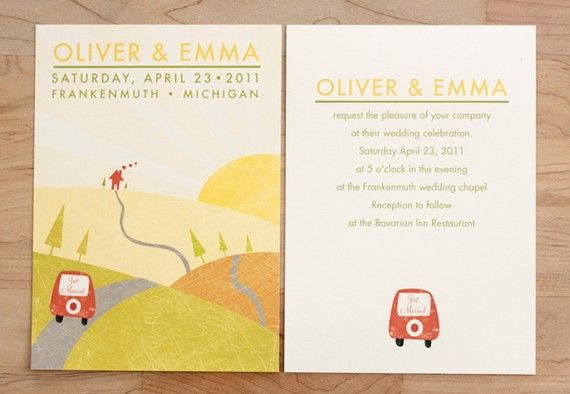 Just stumbled across the CUTEST wedding invitations shop on Etsy!! If you're a bride and this fits you, take a peek. They're just so whimsical and sweet :)