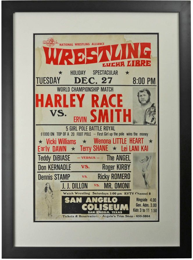 Framed #LuchaLibre Wrestling Poster Race v Smith c1960 - Salvaged from the San Angelo Coliseum (in San Angelo, Texas), this collection of vintage Lucha Libre wrestling posters represent the best in mid-century kitsch spectacle. This poster features the Coliseum's Holiday Spectacular, where Harley Race took on Ervin Smith for the main event – although the 5 Girl Pole Battle Royal was probably an incredible sight, as well.