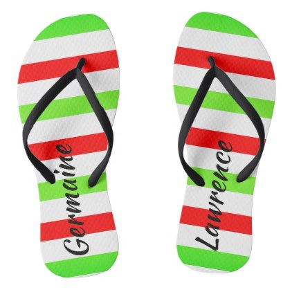 (Your Name) Red White Green Stripes Christmas Col. Flip Flops - #chic gifts diy elegant gift ideas personalize
