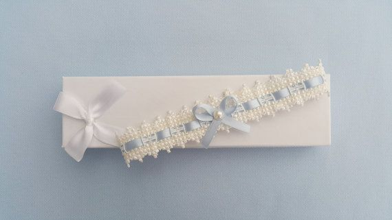 Ivory eyelet lace garter wedding garter something by BeuBeuDesign