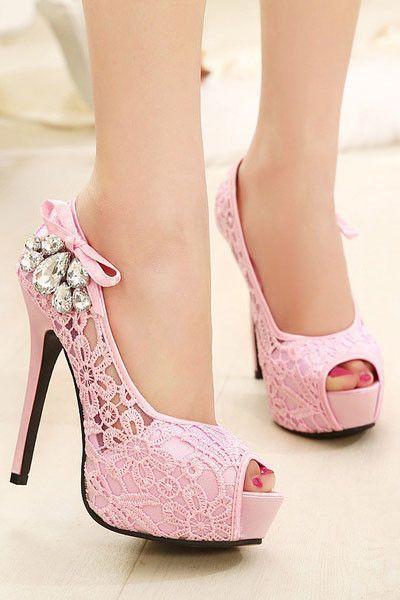 Fashion diamond lace fish head high heels