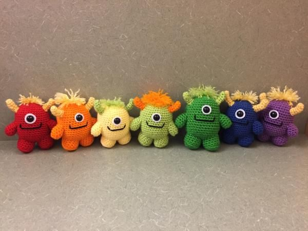 Vote for Little Crochet Monsters by CrochetedbyRikki - http://www.amigurumipatterns.net/designcontest/vote/?id=895 - These sweet little monsters are the perfect housemates. They are kind, cute and very curious. They even help me study for exams!