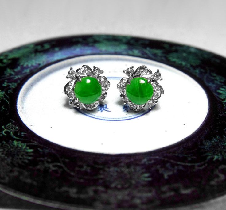 106 best antique fine jade jewelry images on pinterest 19th antique jade stud earrings set with jadeite jade and diamonds in 18k white gold aloadofball Images