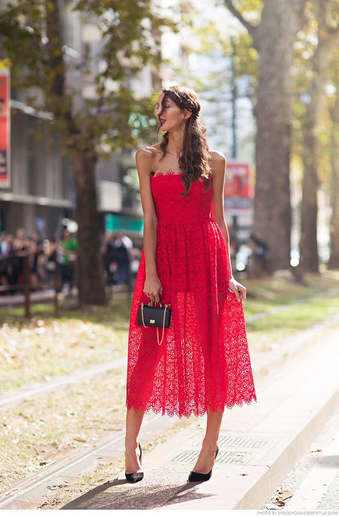 red off shoulder strapless midi prom elegant dress, black heels. Summer women fashion @roressclothes closet ideas