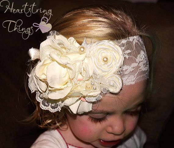 Vanilla Garden Vintage and Shabby Chic Headband with Pearls and Lace on a Stretch Lace Headband.