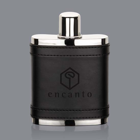 Melrose Hip Flask - Black Leather
