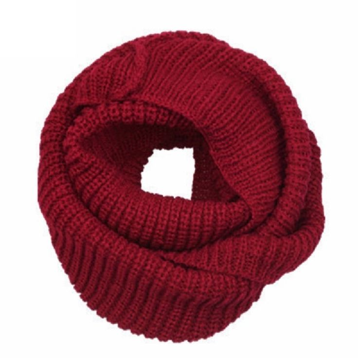 Women's Winter Warm 2-Circle Knitted Cowl Neck Long Scarf Shawl Wine Red