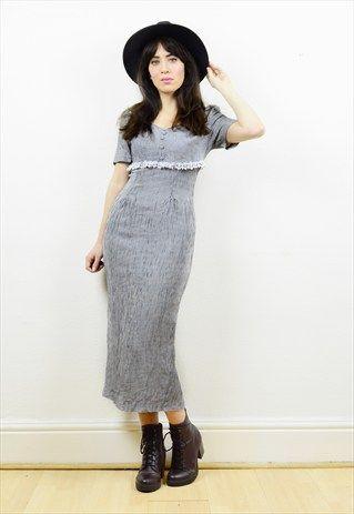 90s+grunge+checked+print+slim+fitting+midi+dress