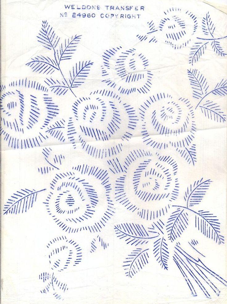 Rose Bouquet ~ Vintage Weldons Iron-on Embroidery Transfer 272 #Weldons