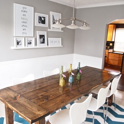 I like the black white pictures dining room for 65 farmhouse table