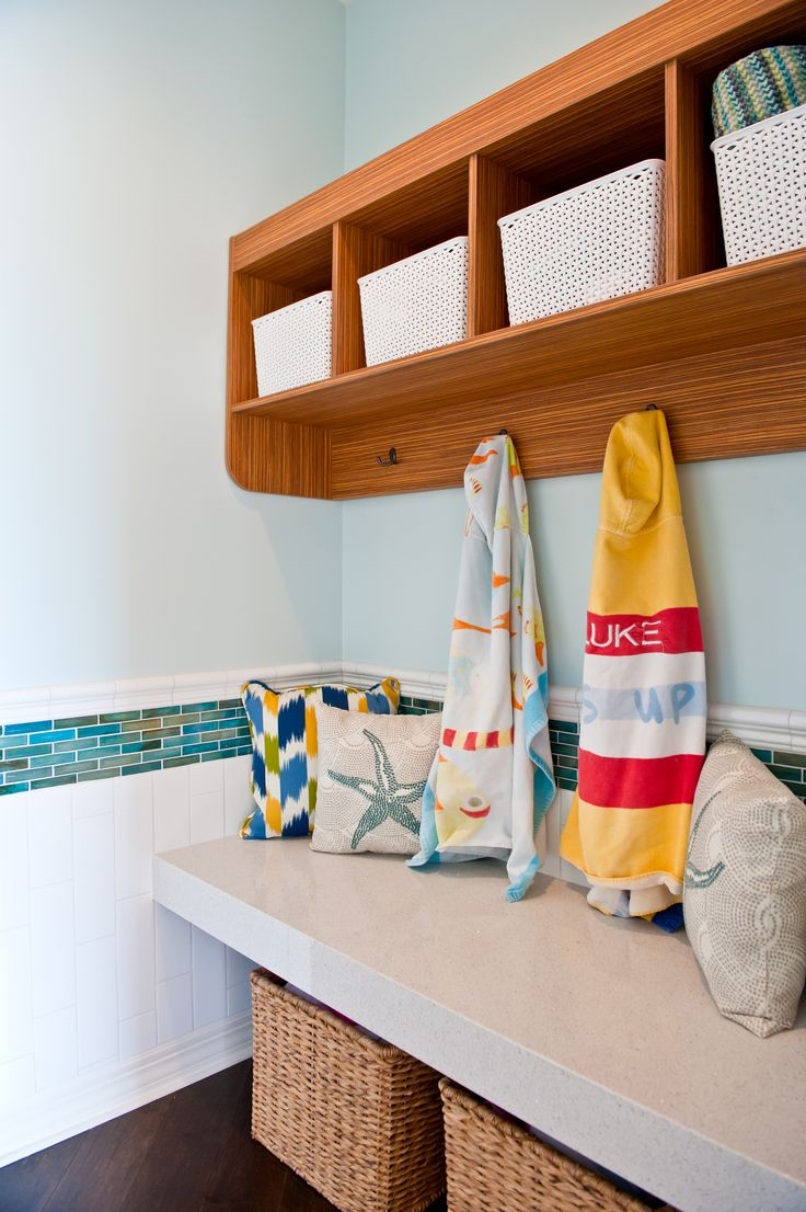 Beach Pool Bath- Blue and white tile wainscoting with a floating Ceaserstone bench. Custom Storage Shelves!! | Windgate Ranch | Arizona | Interior Design | Red Egg Design Group