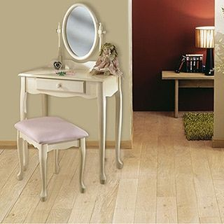 Powell Off-White Vanity, Mirror and Bench | White vanity ...
