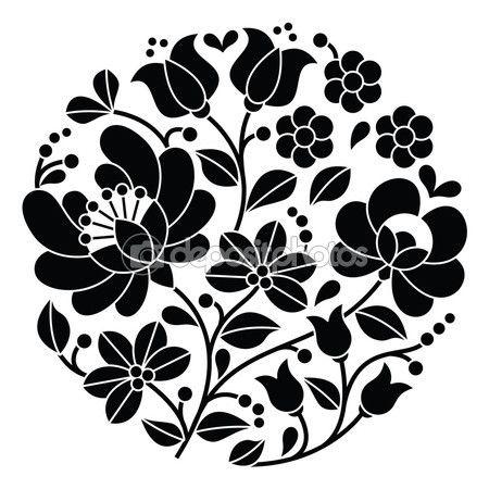 Kalocsai negro bordado - Húngaro redonda floral patrón popular — Vector de stock © RedKoala #72389287