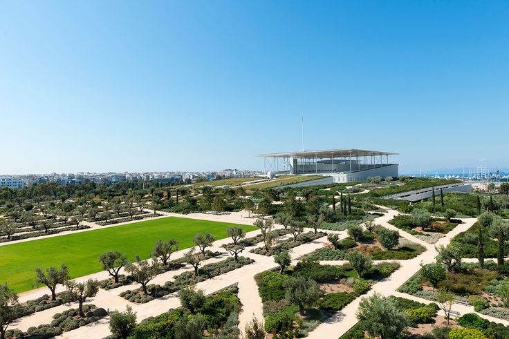 The Stavros Niarchos Park and the Buildings. Stavros Niarchos Foundation Cultural Center by Renzo Piano. Photograph © Yiorgis Yerolym, courtesy of Renzo Piano and Stavros Niarchos Foundation.