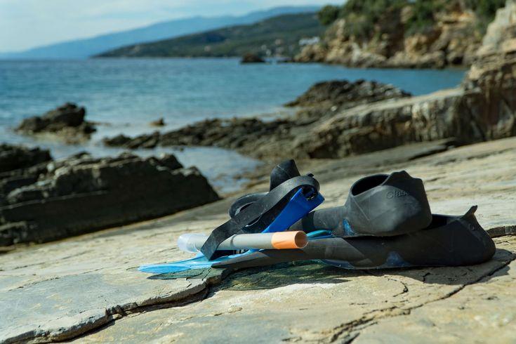 #beach #cliffs #depth of field #flippers #nature #ocean #seaside #snorkel #snorkeling gear #swimfin