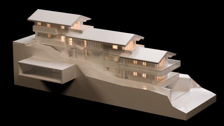 Chalet Bellevue Architecture Verbier Ski Alps 3D Printing Architecture 3D White Model Render #architecture #projet #chalet #maquette #noiretblanc