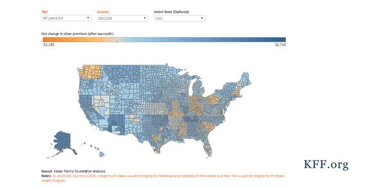 This map compares county-level projections of premiums and tax credits for marketplace enrollees under the Affordable Care Act (ACA) in 2020 with estimates for the Better Care Reconciliation Act (B…