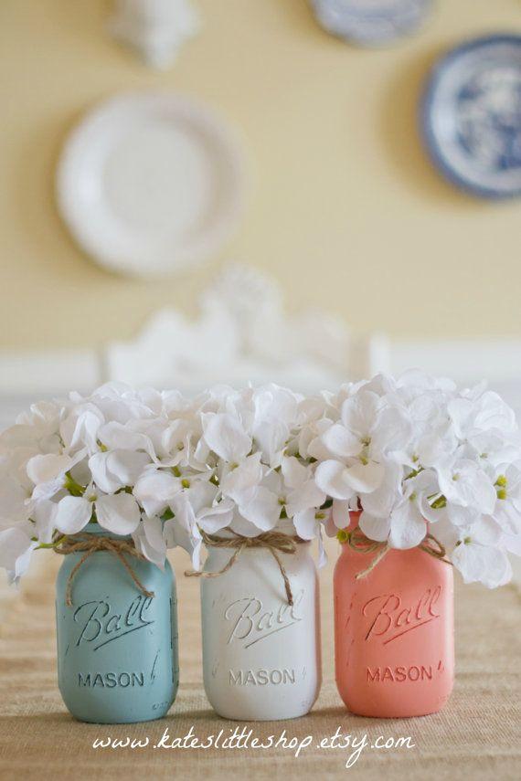 Set of 3 Pint Size Ball Painted Mason Jars. by KatesLittleShop