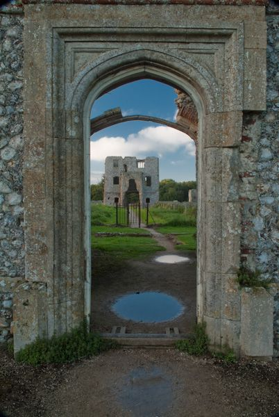 Gatehouse view of the ruins of the 15th century Baconsfield Castle in Norfolk, England
