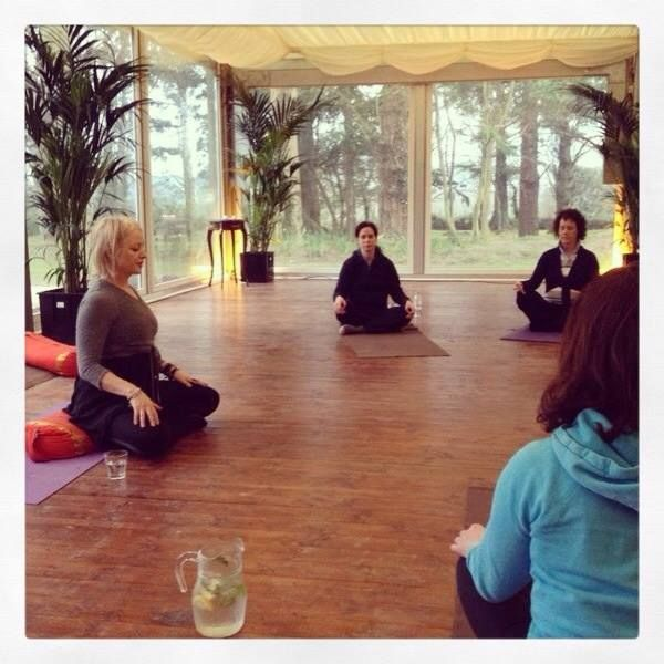 Yoga Class in the Pavilion overlooking the gardens