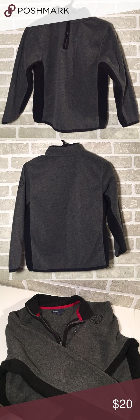 Gap Kids Boys Gray with Black Fleece Pullover Gap Kids Boys Gray with Black Fleece Pullover  size M (8) This is already at the lowest price I can accept,  all offers will be declined. Shirts & Tops Sweatshirts & Hoodies