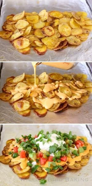 Over-the-Top Loaded Potato Nachos: These delicious potatoes are loaded with the perfect nacho cheese, jalapeños, onions, green onions, tomatoes, avocado, sour cream, and cilantro. They're perfect for a New Year's Eve appetizer party! /julieruble/ by k-beans
