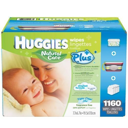 Huggies Natural Care Plus Baby Wipes; 1,160 ct Free Carrying Case