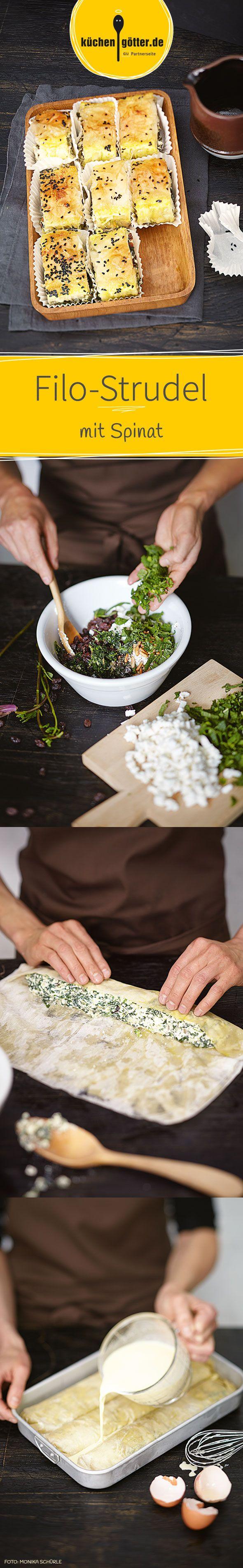 Die kleinen Strudel sind perfekt für ein Partybüfett. Siel lassen sich perfekt in Muffinsförmchen servieren. Die sind garantiert ganz schnell verputzt.