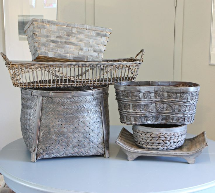 Buy Grasmere Grey Wash Wicker Storage Basket From The: 25+ Best Ideas About Painted Baskets On Pinterest
