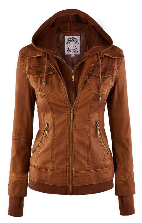 LL Womens Hooded Faux leather Jacket ✮✮✮✮ Color: WJC664_CAMEL  778 customer…