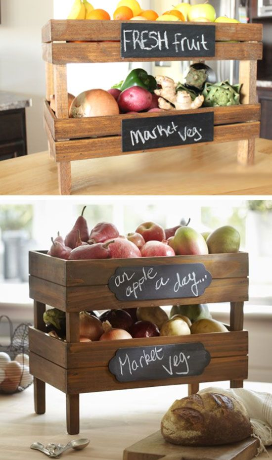 Stackable Fruit and Vegetable Crates | DIY Pottery Barn Decor Knock Offs | DIY Pottery Barn Living Room Ideas on a Budget