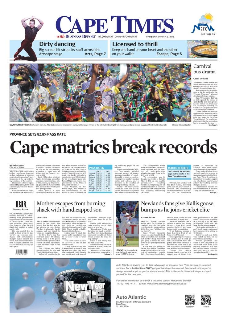 News of the day: Cape matrics break records.
