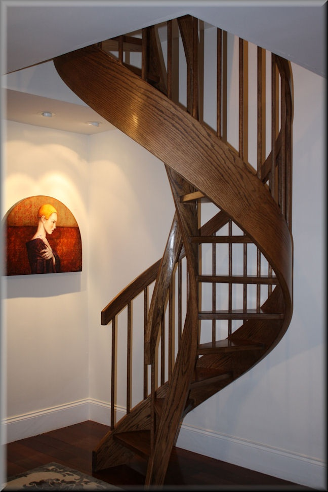 Love The Painting Colors With The Dark Stained Oak Unique Spiral Stairs