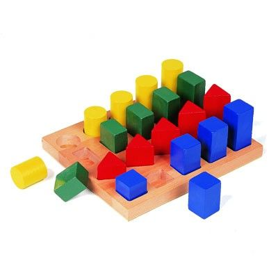 This pegboard helps children develop geometric shape recognition, color matching and size progression skills. Challenges motor skills by requiring different ways to grasp and place pieces.  Smooth, colorful wooden blocks in an extra large wooden base. Latex free.  This puzzle is excellent for development of matching skills, color