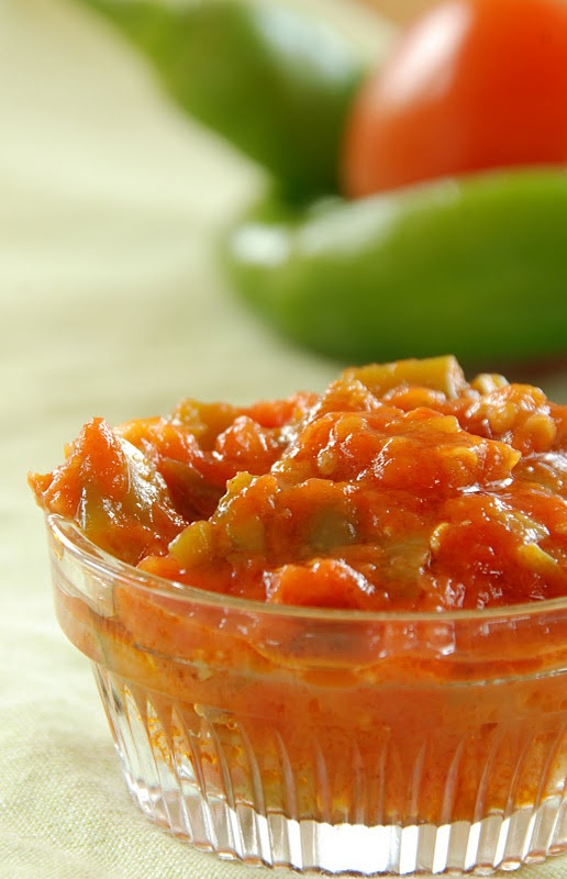 Moroccan matbucha -Cooked Tomato and Hot Pepper Salad
