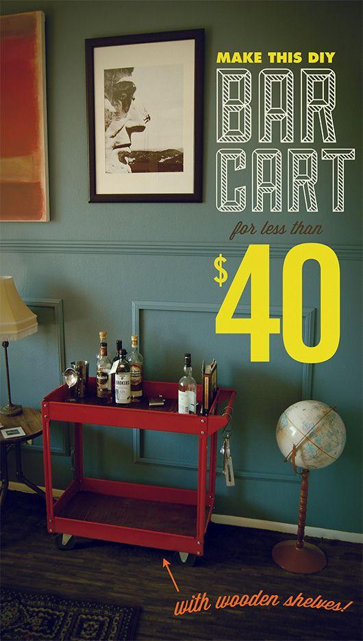 Make This DIY Industrial Bar Cart for Less Than $40