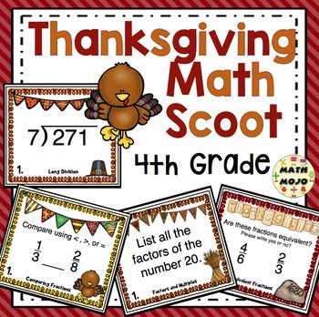 4th Grade Thanksgiving Math Scoot Games - Keep your class engaged and motivated with this super fun set of Thanksgiving math Scoot games. Scoot is a fast paced, whole class game that requires little prep but is lots of fun! Your students will have a blast with these Thanksgiving math games.